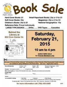 Feb 21 2015 Book Sale Flyer